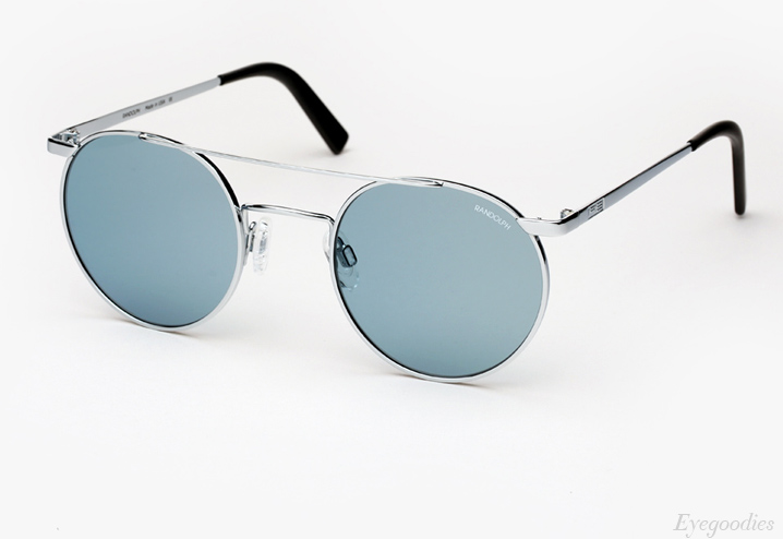 Randolph Engineering P3 Shadow sunglasses - Bright Chrome with Blue Lenses