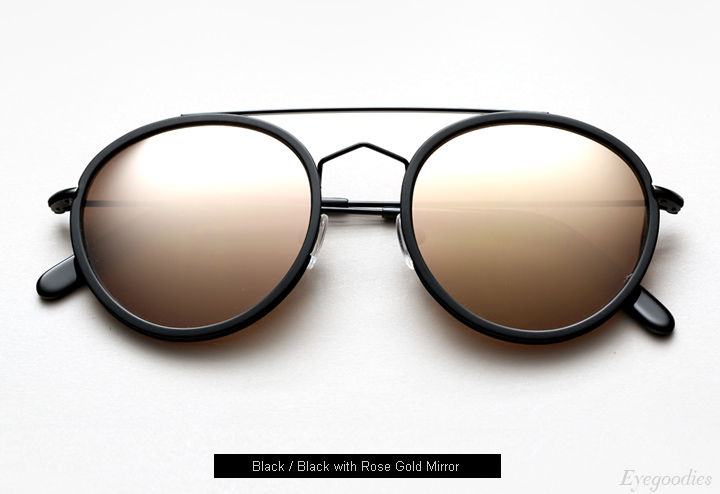 Spektre Vanni sunglasses - Black / Black w/ Rose Gold Mirror